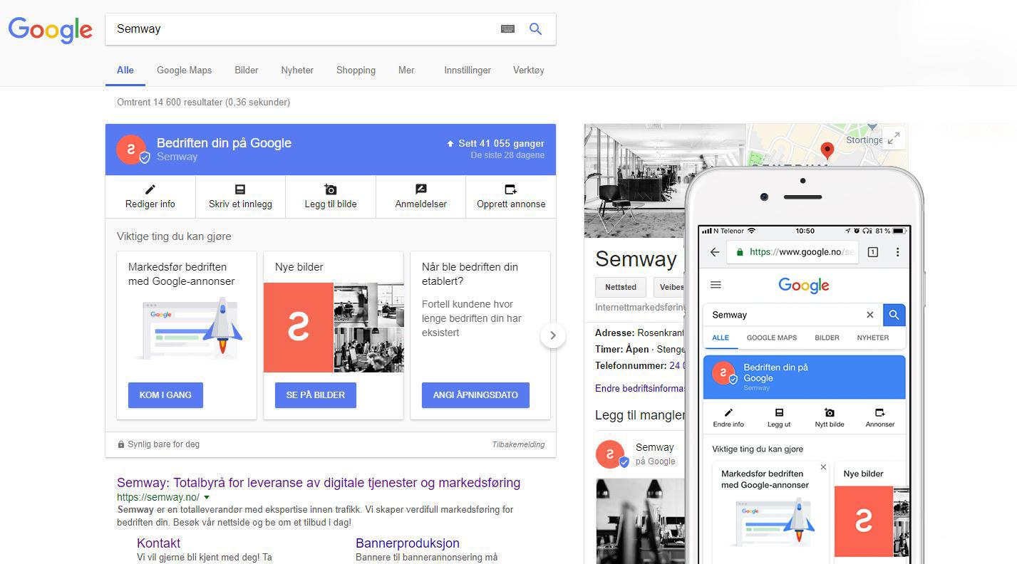 Semway sin bedriftsprofil i Google