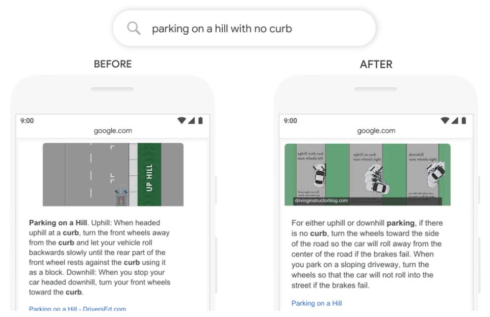 Google eksempel på BERT-oppdatering