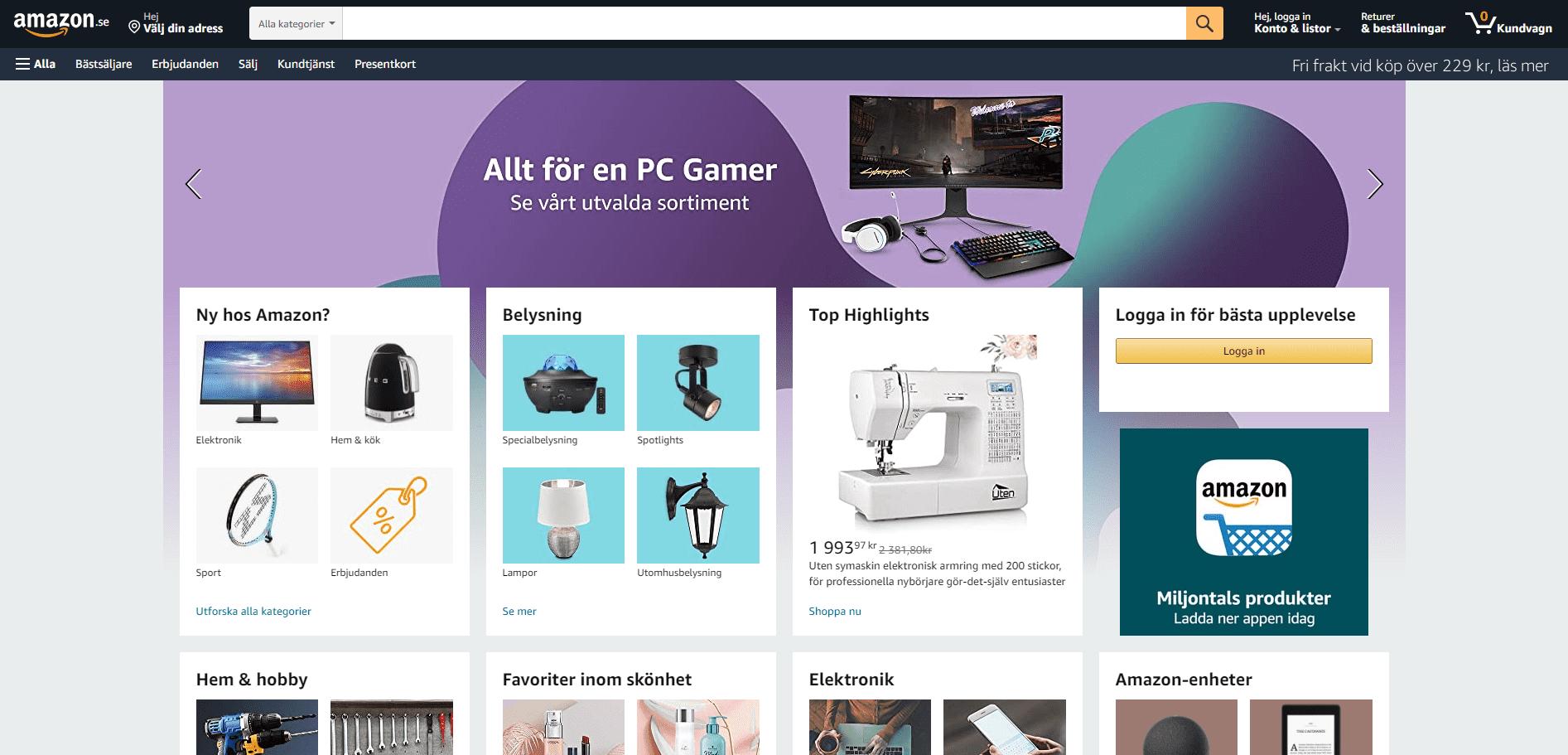 Startsiden til den svenske versjonen av amazons nettbutikk